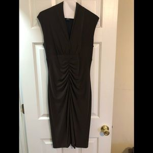 Fitted flattering chocolate brown dress